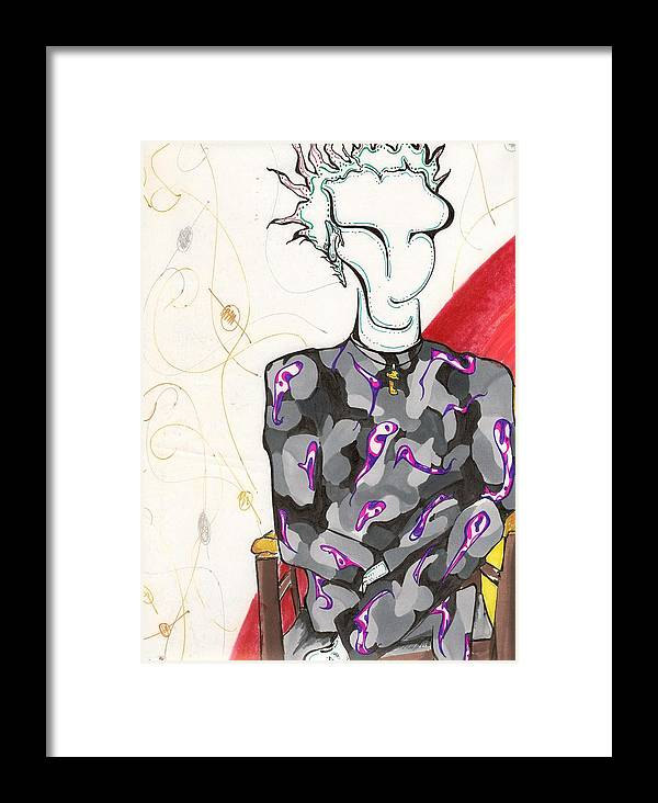 Surrealism Framed Print featuring the drawing Dude 2001 by Gustavo Ramirez