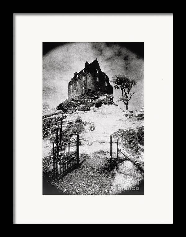 Duntrune; Architecture; Ruin; Ghostly; Eerie; Bleak; Hill; Haunted House Framed Print featuring the photograph Duntroon Castle by Simon Marsden