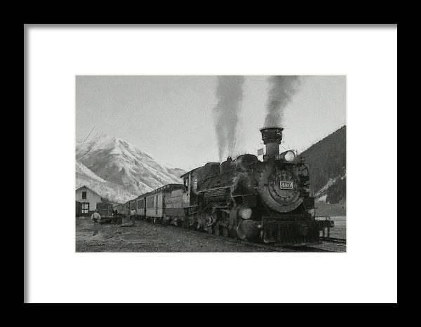 Durango Framed Print featuring the digital art Durango Silverton Bw Painterly 2 by Ernie Echols