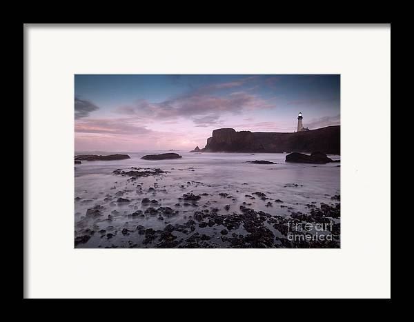 Light House Framed Print featuring the photograph Dusk At Yaquina Head Lighthouse by Keith Kapple