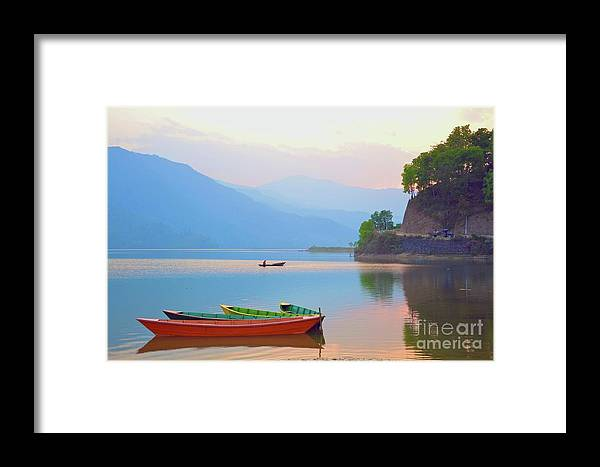 Landscape Framed Print featuring the photograph Dusk Tranquility by Valerie Rosen
