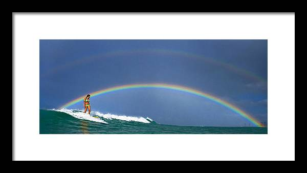 Surfing Framed Print featuring the photograph Ealy Morning Rainbow Surf by Li Ansefelt Thornton