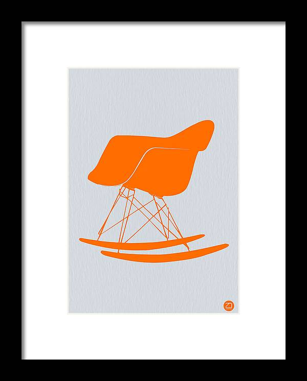 Eames Chair Framed Print featuring the photograph Eames Rocking Chair Orange by Naxart Studio
