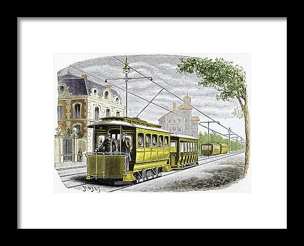 Tram Framed Print featuring the photograph Early Electric Tram by Sheila Terry