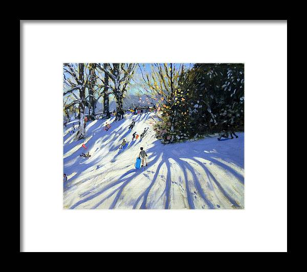 Sledge Framed Print featuring the painting Early Snow Darley Park by Andrew Macara