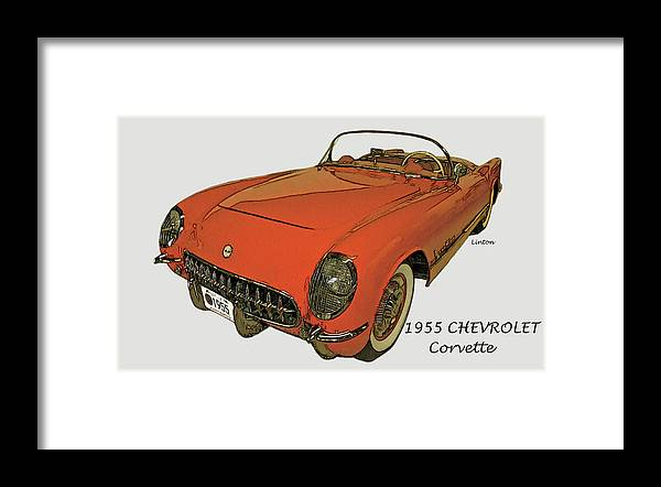 Chevrolet Corvette Framed Print featuring the digital art Early Vette by Larry Linton