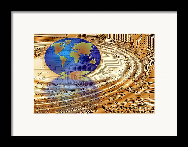 Communication Framed Print featuring the digital art Earth In The Printed Circuit by Michal Boubin