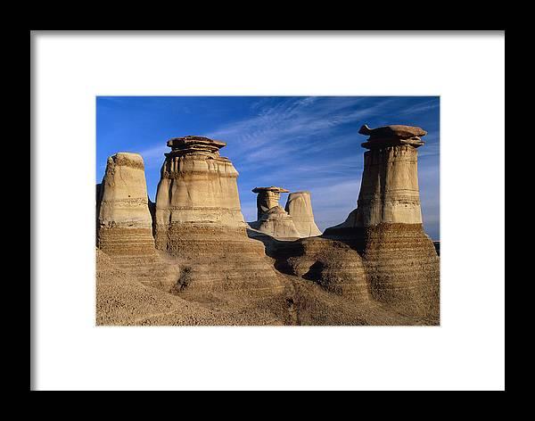 Earth Pillar Framed Print featuring the photograph Earth Pillars (hoodoos) In Alberta Badlands Canada by David Nunuk