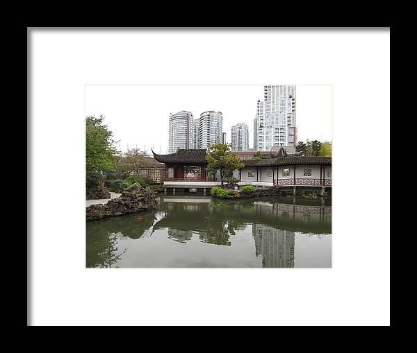 Garden Framed Print featuring the photograph east meets west in Vancouver by Alfred Ng