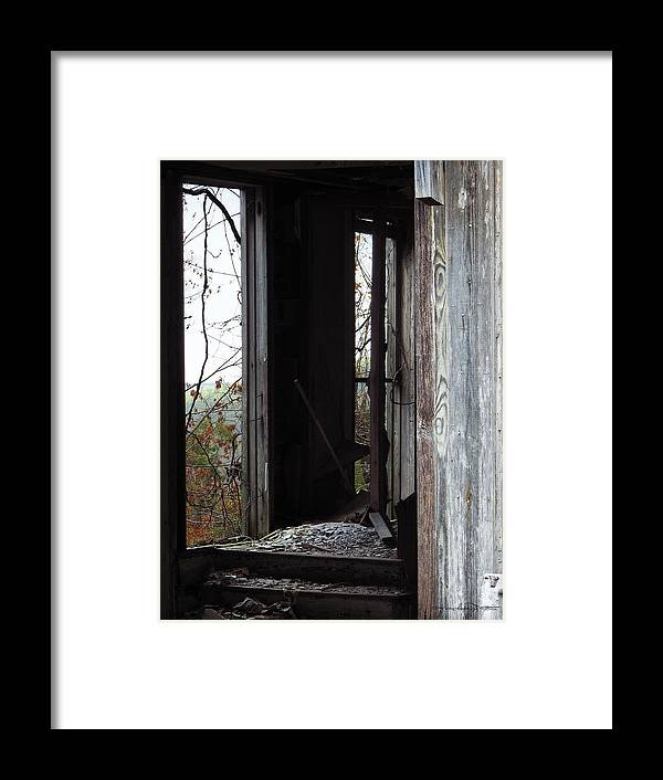 Abandoned Building Framed Print featuring the photograph Echoes by Karen Casey-Smith