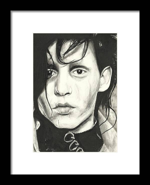Johnny Depp Framed Print featuring the drawing Edward Scissorhands by Sarah Stonehouse