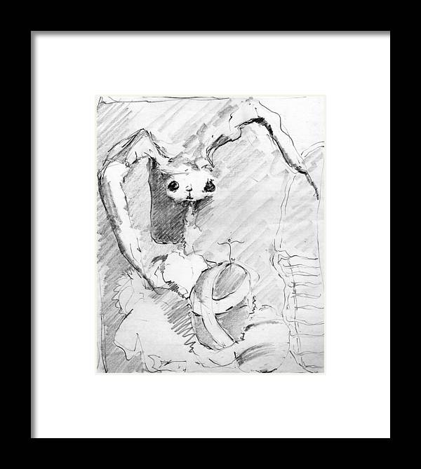 Framed Print featuring the drawing Eggo Bunny by James Lanigan Thompson MFA