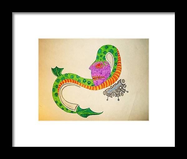 Eggplant Serpent Alien Strange Crazy Colorful Awsome Zib Washburn Monster Framed Print featuring the drawing Eggplant Serpentine by Ragdoll Washburn