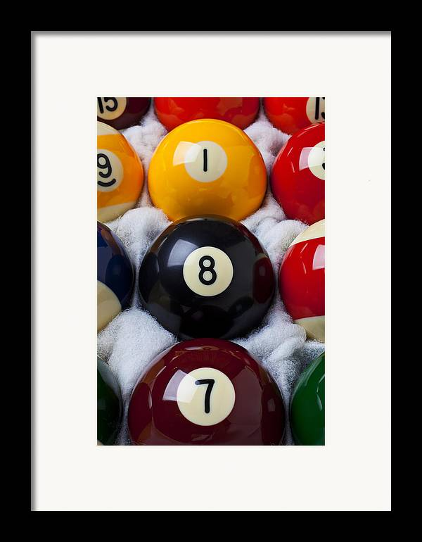 Pool Framed Print featuring the photograph Eight Ball by Garry Gay