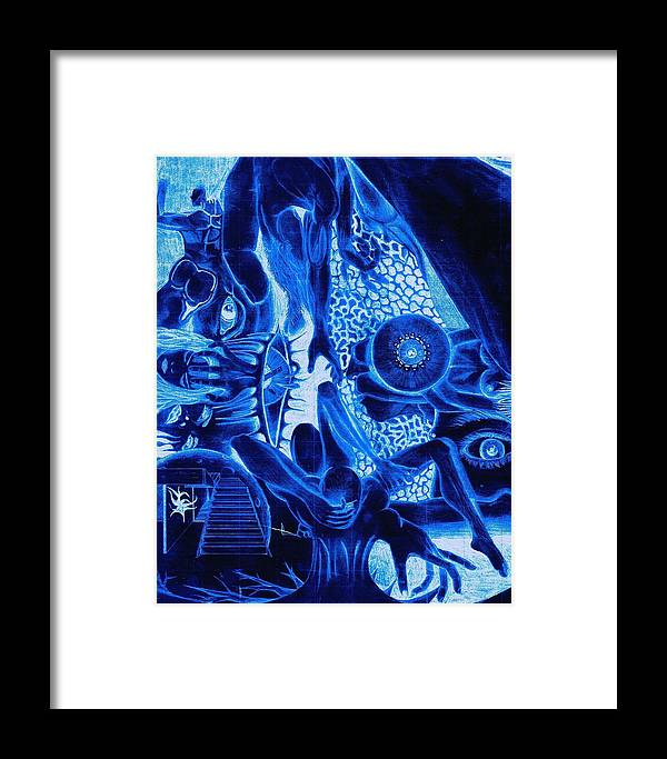 Abstract Framed Print featuring the digital art El Bolador by Erik Sandoval