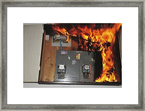electrical fire in a household fuse box framed print by photostock rh fineartamerica com fuse box fire hazard fuse box fire hazard
