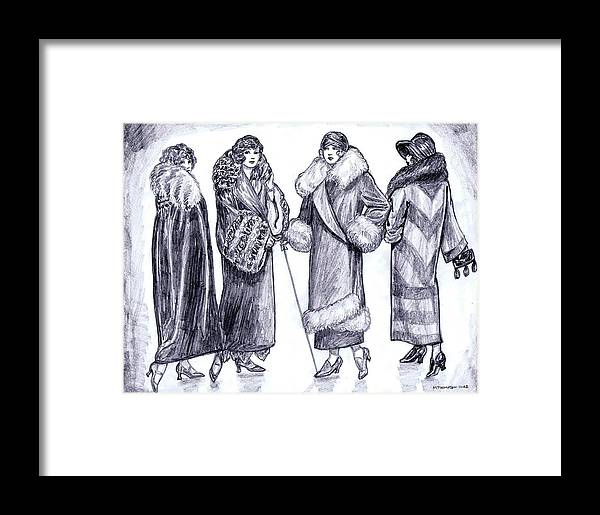 Nostalgia Framed Print featuring the drawing Elegant Coats by Mel Thompson