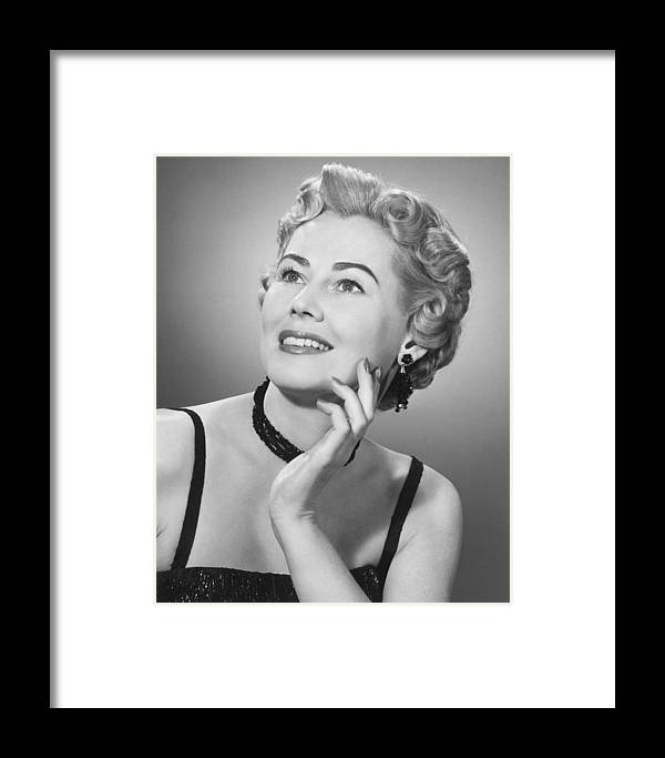 25-29 Years Framed Print featuring the photograph Elegant Woman Posing In Studio, (b&w), Portrait by George Marks