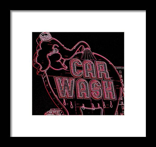 Elephant Car Wash Framed Print featuring the photograph Elephant Car Wash Neon by Randall Weidner