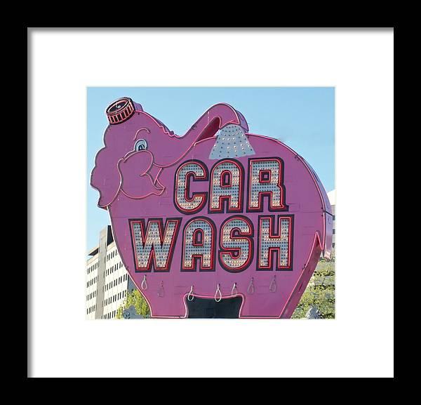 Elephant Car Wash Framed Print featuring the photograph Elephant Car Wash by Randall Weidner