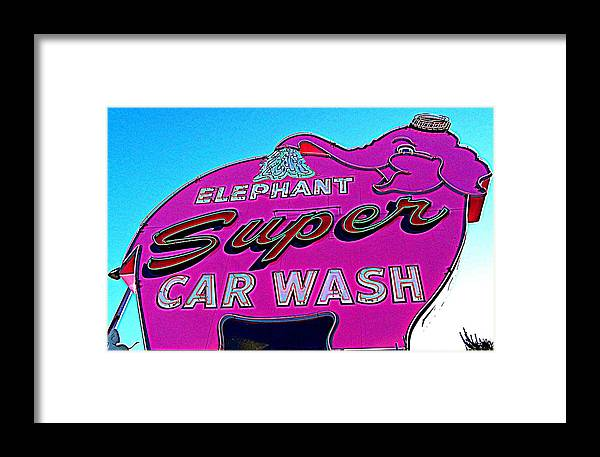Elephant Car Wash Framed Print featuring the photograph Elephant Super Car Wash Boost by Randall Weidner