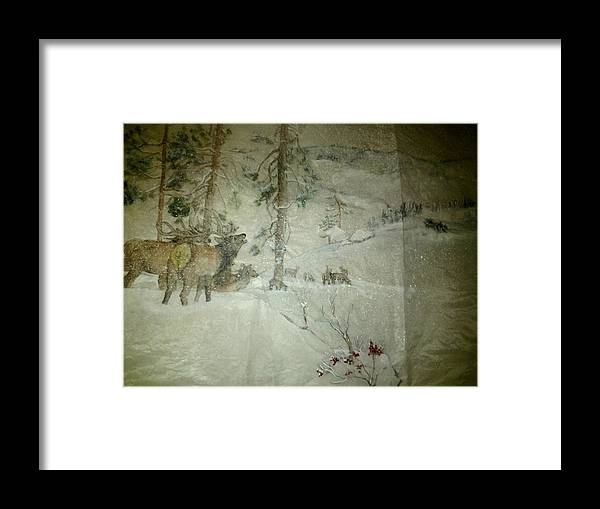 Idaho. Winter. Snow. Elk. Bugling Bulls Framed Print featuring the painting Elk Activity On A Winter Day by Debbi Saccomanno Chan