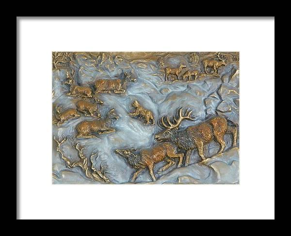Wildlife Framed Print featuring the sculpture Elk And Bobcat In Winter by Dawn Senior-Trask