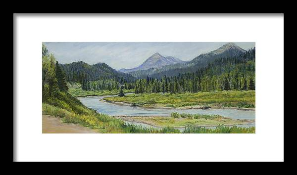 Greys River In Western Wyoming Winds Though Elk Country. Framed Print featuring the painting Elk Crossing by Susan Driver