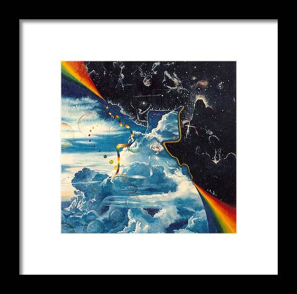 Spiritual Art Framed Print featuring the painting Embrace The Universe by Anne Provost