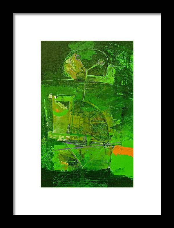 Abstract Paintings Framed Print featuring the painting Emerald Green Tobor by Cliff Spohn
