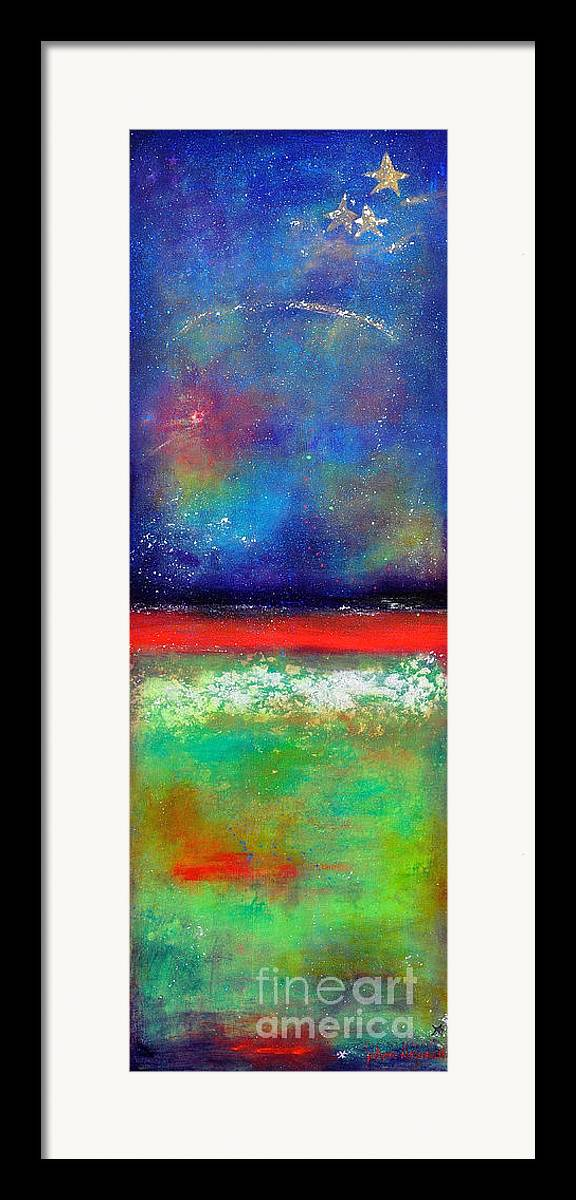Emergence Framed Print featuring the painting Emergence by Johane Amirault