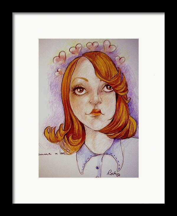 Glee Emma Love Hearts Framed Print featuring the drawing Emma In Love by Jackie Rock