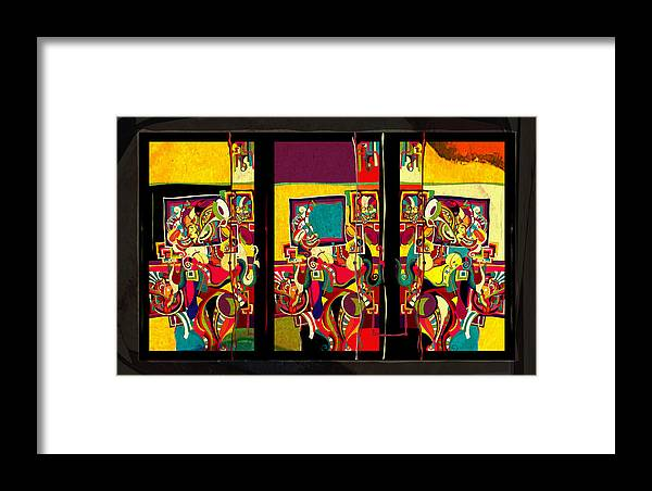 Triptych Framed Print featuring the digital art Emmanoamme by Vladimir Stanisevic