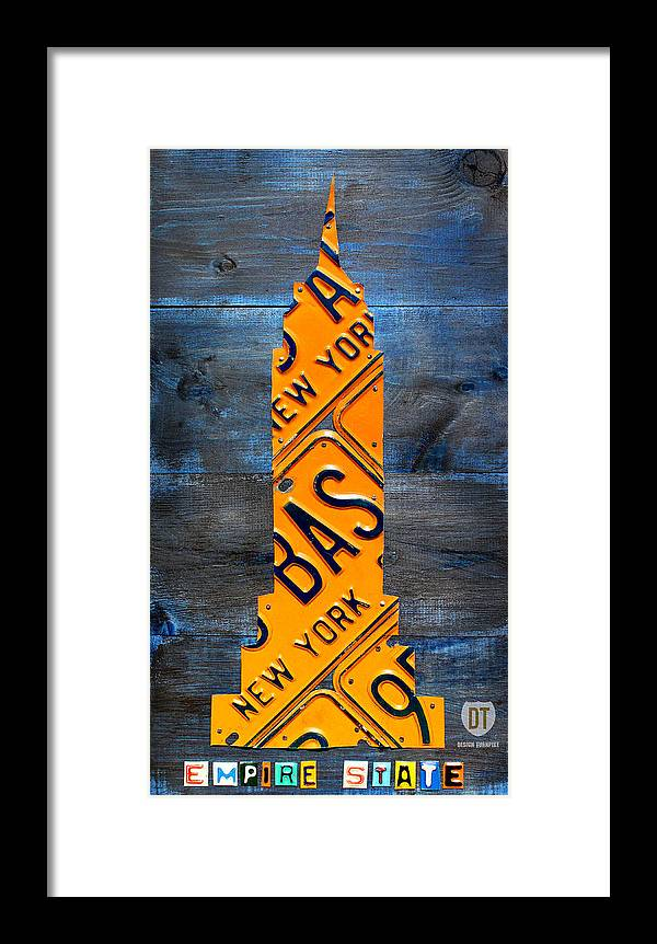 Nyc Framed Print featuring the mixed media Empire State Building Nyc License Plate Art by Design Turnpike