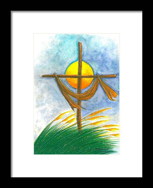 Easter Framed Print featuring the painting Empty Cross by Ricardo Manabat