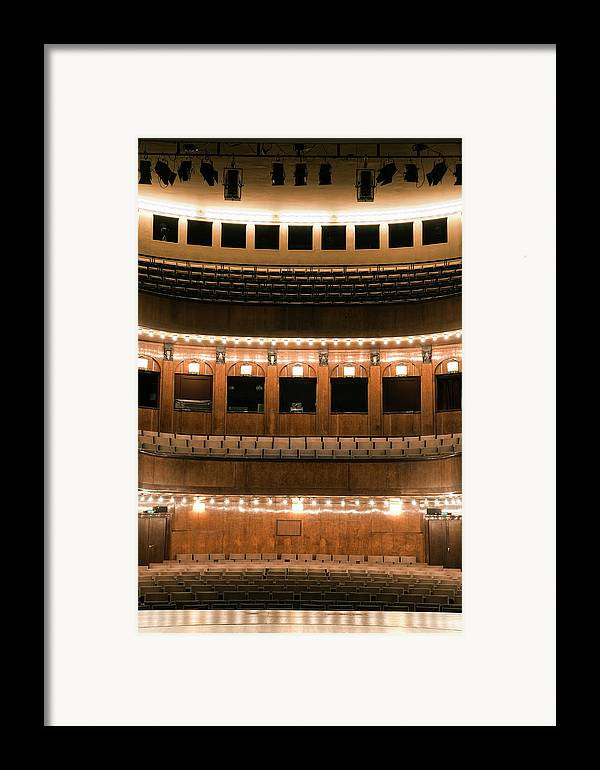 Vertical Framed Print featuring the photograph Empty Seating In An Art Deco Theater by Adam Burn