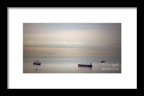 Anchored Framed Print featuring the photograph English Bay Cargo Freighters by Ei Katsumata