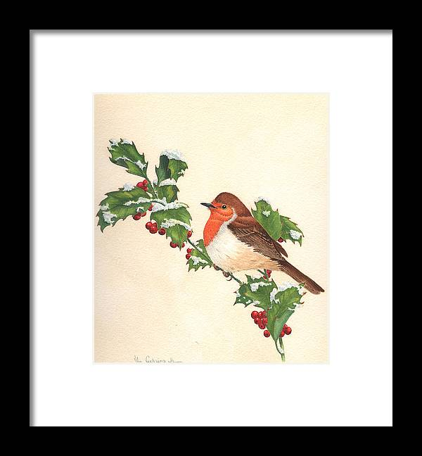 Bird Framed Print featuring the painting English Robin by Bill Gehring