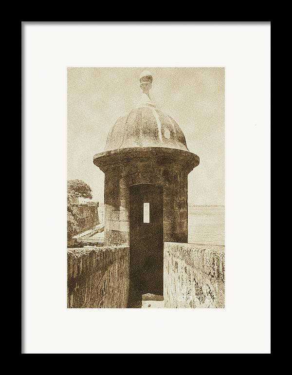 Travelpixpro Puerto Rico Framed Print featuring the digital art Entrance To Sentry Tower Castillo San Felipe Del Morro Fortress San Juan Puerto Rico Vintage by Shawn O'Brien