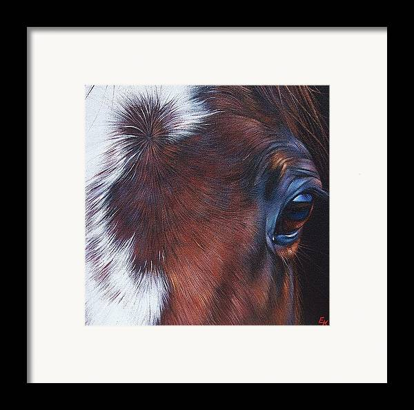 Horse Framed Print featuring the painting Equine 1 by Elena Kolotusha