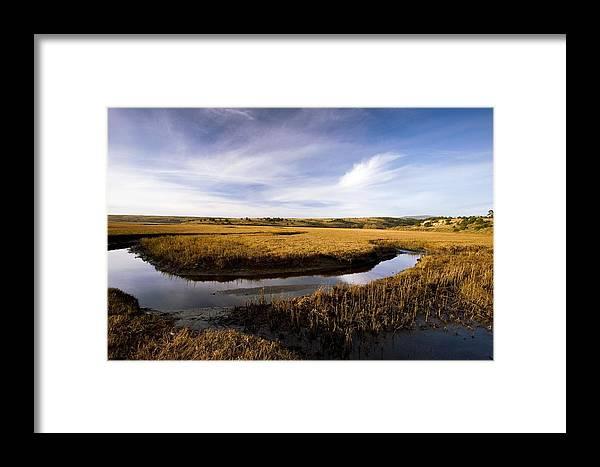 Saltmarsh Framed Print featuring the photograph Estuary At Limantour Beach, Usa by Bob Gibbons