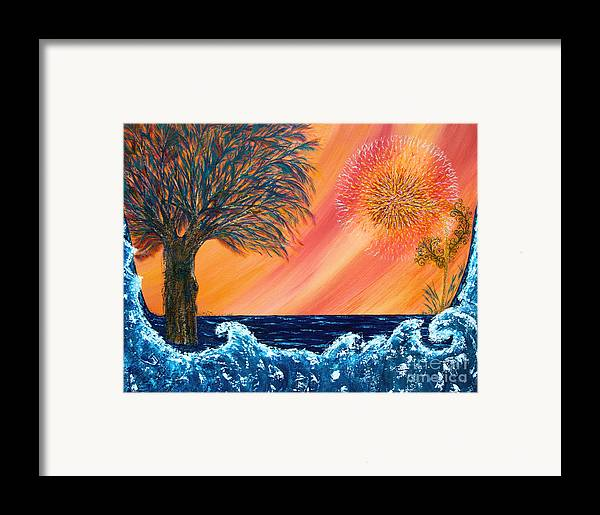 Sky Framed Print featuring the painting Europa Tsunami by Pm Ernst