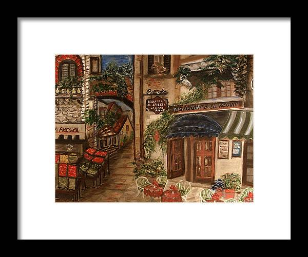 Landscape Framed Print featuring the painting European Village by Kenneth LePoidevin