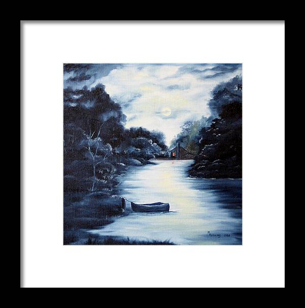 Oil Framed Print featuring the painting Evening by Meg Keeling