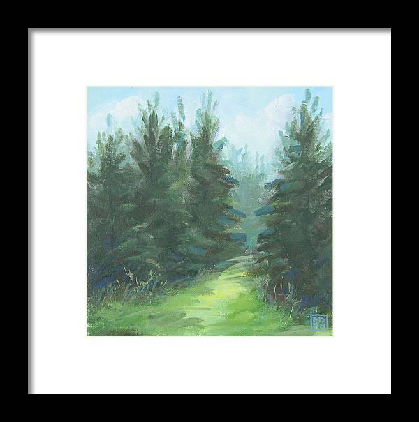 Landscape Framed Print featuring the painting Evergreen Field by Mary Brooking
