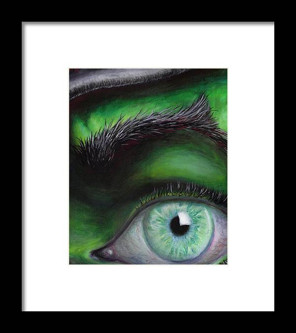 Green Eye Witch Wizard Oz Elphaba West Wicked Evil Eyebrow Framed Print featuring the painting Eye of the Beholder by Rust Dill