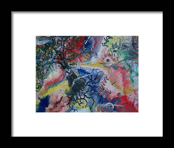 Abstract Framed Print featuring the painting Eye Of The Storm by Fawn Whelahan