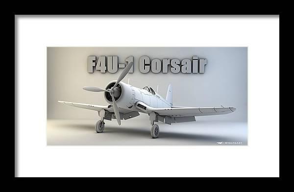 F4u Corsair Framed Print featuring the digital art F4u-1 Corsair by Dale Jackson