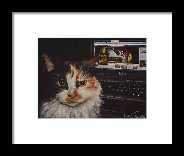 Cat Framed Print featuring the painting Facebook Cat by Laurie Tietjen