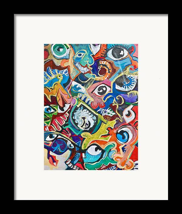 Eye Framed Print featuring the painting Faces In A Crowd by Jame Hayes